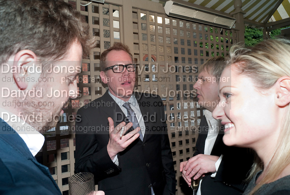 MATTHEW D'ANCONA; BRETT EASTON ELLIS; NICK RHODES, Dylan Jones hosts a party for Brett Easton Ellis and his new book.- Imperial Bedrooms. Mark's Club. London. 15 July 2010.  -DO NOT ARCHIVE-© Copyright Photograph by Dafydd Jones. 248 Clapham Rd. London SW9 0PZ. Tel 0207 820 0771. www.dafjones.com.