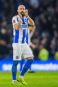 Bruno Salter (Capt)(Brighton) thanking the supporters at the end of the FA Cup fourth round match between Brighton and Hove Albion and West Bromwich Albion at the American Express Community Stadium, Brighton and Hove, England on 26 January 2019.