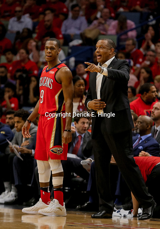May 4, 2018; New Orleans, LA, USA; New Orleans Pelicans head coach Alvin Gentry and guard Rajon Rondo (9) during the third quarter in game three of the second round of the 2018 NBA Playoffs against the Golden State Warriors at Smoothie King Center. The Pelicans defeated the Warriors 119-100.  Mandatory Credit: Derick E. Hingle-USA TODAY Sports