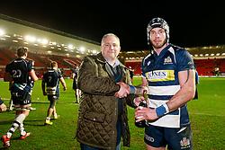 Man of the match presentation to Bristol Rugby Winger Ryan Edwards - Mandatory byline: Rogan Thomson/JMP - 22/01/2016 - RUGBY UNION - Ashton Gate Stadium - Bristol, England - Bristol Rugby v Ulster A - British & Irish Cup.
