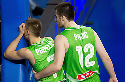 Klemen Prepelic of Slovenia and Marko Pajic of Slovenia during basketball match between National teams of Sweden and Slovenia in First Round of U20 Men European Championship Slovenia 2012, on July 13, 2012 in Domzale, Slovenia. (Photo by Vid Ponikvar / Sportida.com)