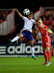 NEWPORT, WALES - Friday, August 31, 2018: England's Nikita Parris (left) and Wales' captain Sophie Ingle (right) during the FIFA Women's World Cup 2019 Qualifying Round Group 1 match between Wales and England at Rodney Parade. (Pic by David Rawcliffe/Propaganda)