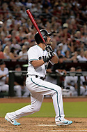 Sep 8, 2017; Phoenix, AZ, USA; Arizona Diamondbacks outfielder Reymond Fuentes (14) hits a two run home run in the fifth inning against the San Diego Padres at Chase Field. Mandatory Credit: Jennifer Stewart-USA TODAY Sports