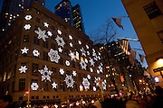 Christmas decoration on a building in New York City