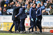 Sheffield Wednesday head coach Carlos Carvalhal celebrates Sheffield Wednesday striker Fernando Forestieri (45) goal as he scores to make it 0-1 with his bench during the Sky Bet Championship match between Huddersfield Town and Sheffield Wednesday at the John Smiths Stadium, Huddersfield, England on 2 April 2016. Photo by Simon Davies.