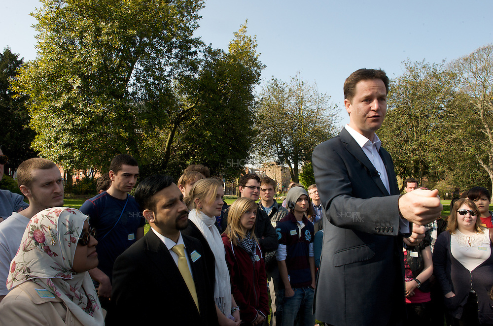 London, England, April 18, 2010. Leader of the Liberal Democrats Nick Clegg gives speech to young people in Sutton.