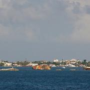 Sinking ships after Wlima hurricane. Isla Mujeres. Quintana Roo, Mexico.
