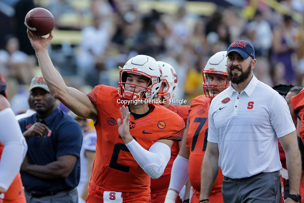 Sep 23, 2017; Baton Rouge, LA, USA; Syracuse Orange quarterback Eric Dungey (2) before a game against the LSU Tigers at Tiger Stadium. Mandatory Credit: Derick E. Hingle-USA TODAY Sports