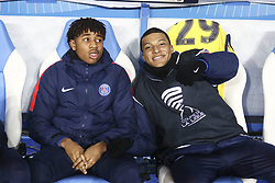 December 13, 2017 - Strasbourg, France - Mbappe Lottin Kylian 29; Nkunku Christopher Alan 24  of PSG during warm-up before the french League Cup match, Round of 16, between Strasbourg and Paris Saint Germain on December 13, 2017 in Strasbourg, France. (Credit Image: © Elyxandro Cegarra/NurPhoto via ZUMA Press)