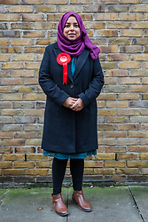 © Licensed to London News Pictures. 16/11/2019. London, UK. Apsana Begum, the Labour Party Prospective Parliamentary Candidate for Poplar and Limehouse ward, poses for a photograph whilst campaigning for the upcoming general election in Wapping, east London. Photo credit: Vickie Flores/LNP