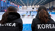 Skaters from South Korea support their teammates in the Super FInal Men's 1500 Meters on day three of the 2013 ISU Short Track Speed Skating Junior World Championships at Torwar Ice Hall on February 24, 2013 in Warsaw, Poland...Poland, Warsaw, February 24, 2013...Picture also available in RAW (NEF) or TIFF format on special request...For editorial use only. Any commercial or promotional use requires permission...Photo by © Adam Nurkiewicz / Mediasport
