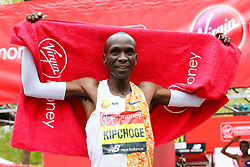 ©© Licensed to London News Pictures. 28/04/2019. London, UK.  Kenya's Eliud Kipchoge wins the men's race at the London Marathon 2019. Photo credit: Dinendra Haria/LNP