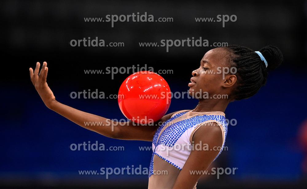 07.09.2015, Porsche Arena, Stuttgart, GER, Gymnastik WM, im Bild Sofia Higino (ANG) Ball // during the World Rhythmic Gymnastics Championships at the Porsche Arena in Stuttgart, Germany on 2015/09/07. EXPA Pictures &copy; 2015, PhotoCredit: EXPA/ Eibner-Pressefoto/ Weber<br /> <br /> *****ATTENTION - OUT of GER*****