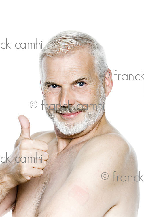 one caucasian man portrait thumb up nicotine patch  isolated studio on white background