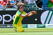 Pat Cummins of Australia misses a catch from Najibullah Zadran of Afghanistan during the ICC Cricket World Cup 2019 match between Afghanistan and Australia at the Bristol County Ground, Bristol, United Kingdom on 1 June 2019.