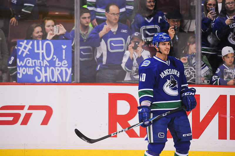 VANCOUVER, CANADA - APRIL 3: of the Vancouver Canucks of the Anaheim Ducks in NHL action on April, 3, 2012 at Rogers Arena in Vancouver, British Columbia, Canada. (Photo by Derek Leung/Getty Images) *** LOCAL CAPTION *** playername