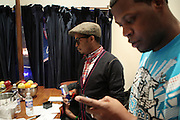 9 March 2011- New York, NY- l to r: Chris Dave and Keyon Harrold backstage at Mos Def Produced by Jill Newman Productions and held at The Blue Note Jazz Club on March 9, 2011 in New York City. Photo Credit: Terrence Jennings for Jill Newman Productions