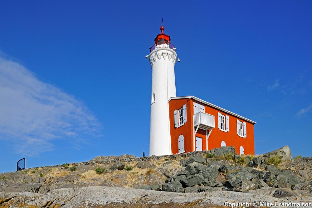Fisgard Lighthouse National Historic Site on Fisgard Island at the mouth of Esquimalt Harbour , Victoria, British Columbia, Canada