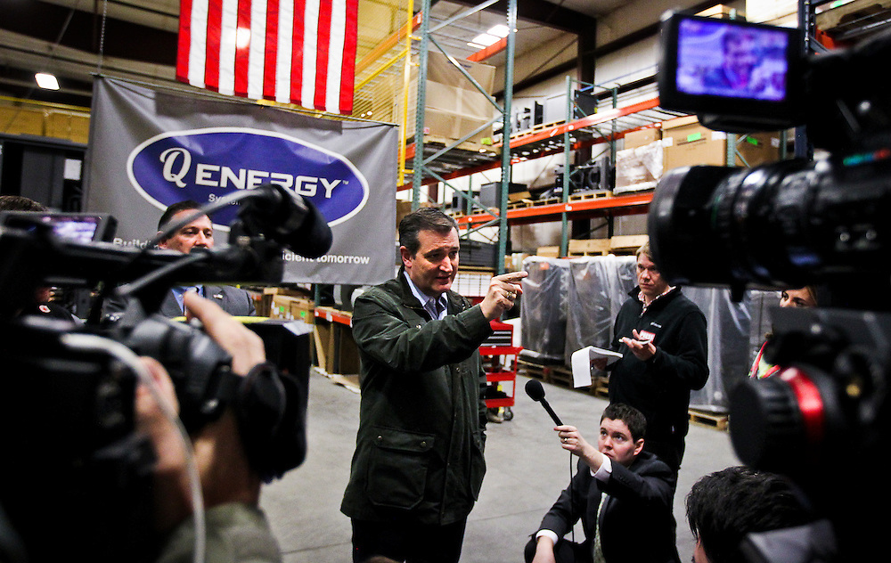 Presidential candidate Sen. Ted Cruz, R-Tx., speaks to the media at Dane Manufacturing, a small metal fabrication company in a suburb of Madison, Wisconsin on March 24, 2016. Cruz will be campaigning around the state in advance of the Wisconsin Presidential primary to be held on April 5. REUTERS/Ben Brewer