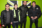 Forest Green Rovers Farrend Rawson(6) with his kit sponsor during the EFL Sky Bet League 2 match between Forest Green Rovers and Carlisle United at the New Lawn, Forest Green, United Kingdom on 28 January 2020.
