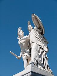 Detail of ornate statue on bridge on Unter den Linden in Mitte Berlin  Germany