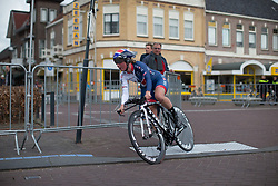 Alice Barnes (GBR) of Team GB tackles the final corner of Stage 1a of the Healthy Ageing Tour - a 16.9 km time trial, starting and finishing in Leek on April 5, 2017, in Groeningen, Netherlands.