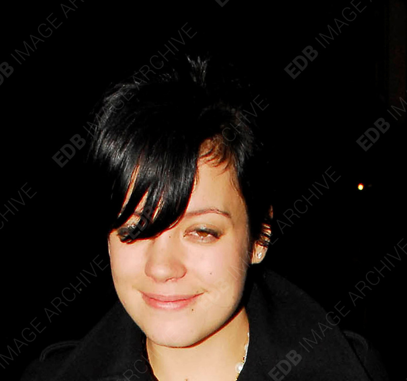 22.NOVEMBER.2007. LONDON<br /> <br /> A VERY DRUNK LILY ALLEN WHO HAS A VERY SORE LOOKING NOSTREL COMING OUT OF PUNK CLUB, SOHO TO HAVE A CIGARETTE. SHE THEN LEFT AT 2.45AM WITH MAQUITA OLIVER AND GETTING PROTECTED BY HER LITTLE BROTHER ALFIE WHO WAS WITH HIS GIRLFRIEND JAMIE WINSTONE.<br /> <br /> BYLINE: EDBIMAGEARCHIVE.CO.UK<br /> <br /> *THIS IMAGE IS STRICTLY FOR UK NEWSPAPERS AND MAGAZINES ONLY*<br /> *FOR WORLD WIDE SALES AND WEB USE PLEASE CONTACT EDBIMAGEARCHIVE - 0208 954 5968*