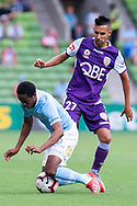 MELBOURNE, VIC - MARCH 03: Melbourne City forward Shayon Harrison (9) is taken down by Perth Glory midfielder Juande (27) at the round 21 Hyundai A-League soccer match between Melbourne City FC and Perth Glory on March 03, 2019 at AAMI Park, VIC. (Photo by Speed Media/Icon Sportswire)