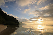Evening clouds at Ke'e Beach and the Na Pali Coast, Kauai, Hawaii