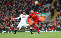 Football - 2016 / 2017 Premier League - Liverpool vs. Watford<br /> <br /> Emre Can of Liverpool and Daryl Janmaat of Watford during the match at Anfield<br /> <br /> COLORSPORT/LYNNE CAMERON
