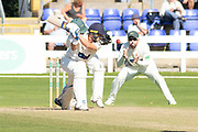 Billy Root edges the ball during the Specsavers County Champ Div 2 match between Glamorgan County Cricket Club and Leicestershire County Cricket Club at the SWALEC Stadium, Cardiff, United Kingdom on 18 September 2019.