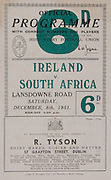 Irish Rugby Football Union, Ireland v South Africa, Tour Match, Landsdowne Road, Dublin, Ireland, Saturday 8th December, 1951,.8.12.1951, 12.8.1951,..Referee- Mr W C W Murdoch, Scottish Rugby Union, ..Score- Ireland 5 - 17 South Africa,..Irish Team, ..J G M W Murphy, Wearing number 15 Irish jersey, Full Back, Dublin University Rugby Football Club, Dublin, Ireland, ..W D McKee, Wearing number 14 Irish jersey, Right Wing, N.I.F.C, Rugby Football Club, Belfast, Northern Ireland, ..N J Henderson, Wearing number 13 Irish jersey, Right centre, Queens University Rugby Football Club, Belfast, Northern Ireland,..A W Browne, Wearing number 12 Irish jersey, Left Centre, Dublin University Rugby Football Club, Dublin, Ireland, ..M F Lane,  Wearing number 11 Irish jersey, Left wing, University college Cork Football Club, Cork, Ireland,  ..J W McKay, Wearing number 10 Irish jersey, Stand off, Queens University Rugby Football Club, Belfast, Northern Ireland,..J A O'Meara, Wearing number 9 Irish jersey, Scrum, University college Cork Football Club, Cork, Ireland,  ..T Clifford, Wearing number 1 Irish Jersey, Forward, Young Munster Rugby Football Club, Limerick, Ireland, ..K Mullen, Wearing number 2 Irish Jersey, Forward, Old Belvedere Rugby Football Club, Dublin, Ireland, ..J H Smith, Wearing number 3 Irish jersey, Forward, Collegians Rugby Football Club, Belfast, Northern Ireland,..P J Lawlor, Wearing number 4 Irish jersey, Forward, Clontarf Rugby Football Club, Dublin, Ireland,..R H Thompson, Wearing number 5 Irish jersey, Forward, Instonians Rugby Football Club, Belfast, Northern Ireland, and, London Irish Rugby Football Club, Surrey, England, ..J W McKay, Wearing number 6 Irish jersey, Forward, Queens University Rugby Football Club, Belfast, Northern Ireland,..D J O'Brien, Wearing number 7 Irish jersey, Forward, Captain of the Irish team, Cardiff Rugby Football Club, Cardiff, Wales, and, Old Belvedere Rugby Football Club, Dublin, Ireland, ..J S McCarthy, Wearing number 8 Irish j