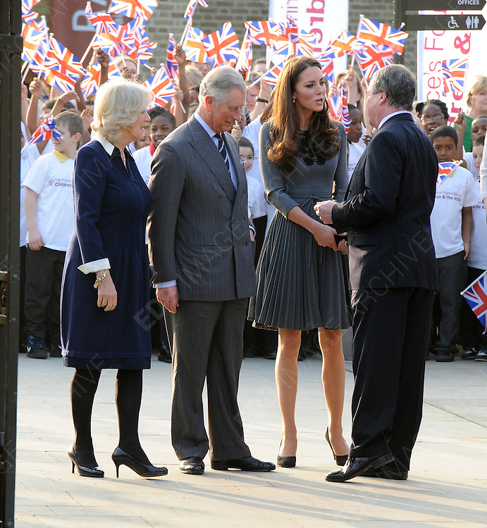 15.MARCH.2012. LONDON<br /> <br /> PRINCE CHARLES INTRODUCES CATHERINE, DUCHESS OF CAMBRIDGE TO THE PRINCES FOUNDATION FOR THE CHILDREN AND THE ARTS, DULWICH PICTURE GALLERY, LONDON<br /> <br /> BYLINE: EDBIMAGEARCHIVE.COM<br /> <br /> *THIS IMAGE IS STRICTLY FOR UK NEWSPAPERS AND MAGAZINES ONLY*<br /> *FOR WORLD WIDE SALES AND WEB USE PLEASE CONTACT EDBIMAGEARCHIVE - 0208 954 5968*