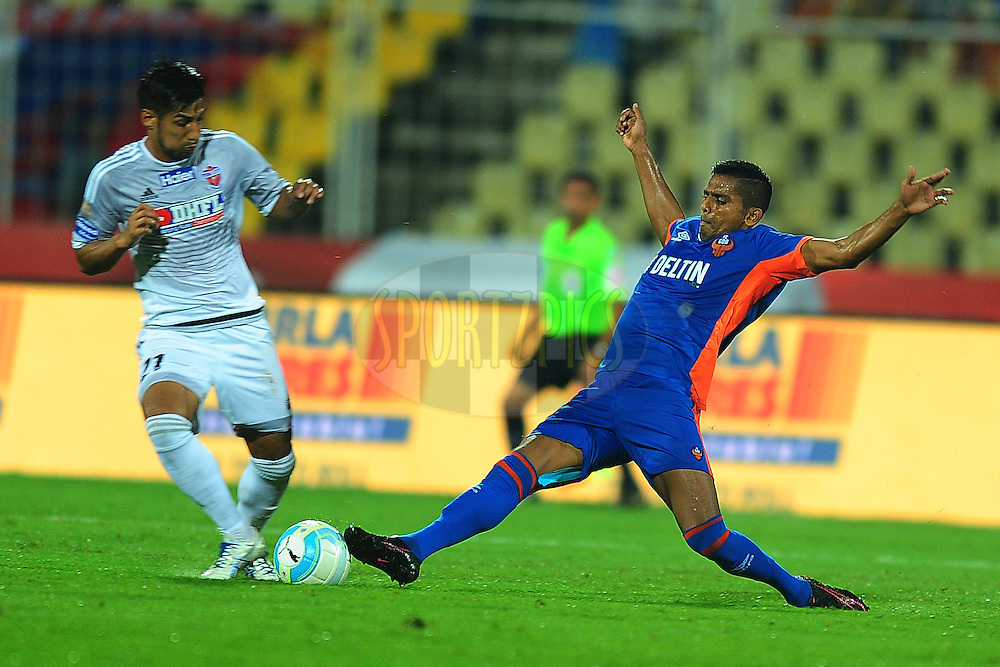 FC Goa player during match 8 of the Indian Super League (ISL) season 3 between FC Goa and FC Pune City held at the Fatorda Stadium in Goa, India on the 8th October 2016.<br /> <br /> Photo by Faheem Hussain / ISL/ SPORTZPICS