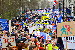 © Licensed to London News Pictures. 23/03/2019. London, UK.  Protesters take part in a People's Vote protest march in central London today, to demand a people's vote (second referendum) on whether Britain should remain in the European Union. Prime Minister, Theresa May has negotiated an extension to the Brexit timetable with the European Union and is now expected to hold a third meaningful vote on her Brexit deal in parliament next week.  Photo credit: Vickie Flores/LNP