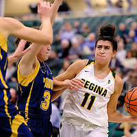 2nd year guard, Carolina Goncalves (11) of the Regina Cougars in action during the Regina Cougars vs Lethbridge game on November 2 at University of Regina. Credit Matte Black Photos/©Arthur Images 2018