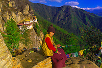 Woman at Taktshang Monastery (Tiger's Nest), Paro Valley, Bhutan