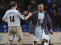 Photo: Paul Greenwood.<br />Bolton Wanderers v Portsmouth. The Barclays Premiership. 30/12/2006. Bolton's Kevin Davies and El Hadji Diouf celebrate at the final whistle