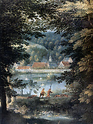 Wooded landscape with view across pond to church and red roofed buildings. In centre foreground two peasants walking with hunting dogs. Oil on canvas.  Gillis van Coninxloo (1544-1607) Dutch painter of forests and landscapes.