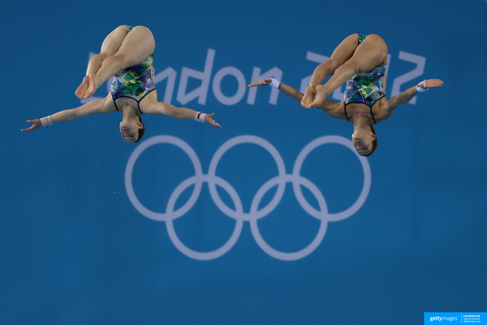 Nora Subschinski and Christin Steuer from Germany, practicing for the Women's Synchronised 10m Platform event at the Diving Pool at the Aquatic Centre at Olympic Park, Stratford during the London 2012 Olympic games preparation at the London Olympics. London, UK. 23rd July 2012. Photo Tim Clayton