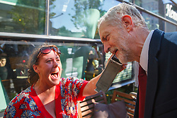 © Licensed to London News Pictures. 01/10/2015. Edinburgh, UK. Leader of Labour Party Jeremy Corbyn meeting people in Edinburgh on Thursday, 1 October 2015 whilst making his first visit to Scotland as leader of the UK Labour Party. Photo credit: Tolga Akmen/LNP