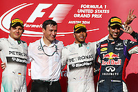 Qualifying top three in parc ferme (L to R): Lewis Hamilton (GBR) Mercedes AMG F1, second; Nico Rosberg (GER) Mercedes AMG F1, pole position; Valtteri Bottas (FIN) Williams, third.<br /> United States Grand Prix, Sunday 2nd November 2014. Circuit of the Americas, Austin, Texas, USA.
