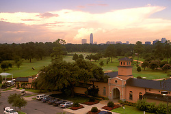 Stock photo of an aerial view of the clubhouse at Memorial Park with Williams Tower in the background