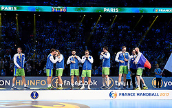 Slovenian team with the medal after 25th IHF men's world championship 2017 match between Croatia and Slovenia at Accord hotel Arena on january 28 2017 in Paris. France. PHOTO: CHRISTOPHE SAIDI / SIPA / Sportida