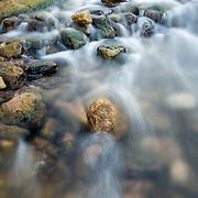 Flowing water of Pedernales River at Pedernales Falls State Park, Texas.
