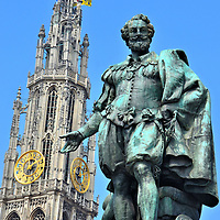 Painter Peter Paul Rubens Statue in Antwerp, Belgium <br />