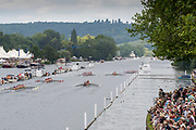 Henley on Thames, England, United Kingdom, Sunday, 07.07.19, Crews competing in the King's Cup, who had not made the Final, paddle down the Course, before the Row Past, in the Luncheon Interval, Henley Royal Regatta,  Henley Reach, [©Karon PHILLIPS/Intersport Images]<br /> <br /> 12:52:41 1919 - 2019, Royal Henley Peace Regatta Centenary,