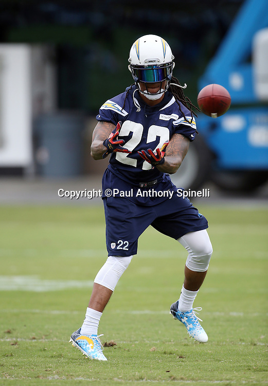 San Diego Chargers cornerback Jason Verrett (22) catches a pass during the Chargers 2016 NFL minicamp football practice held on Tuesday, June 14, 2016 in San Diego. (©Paul Anthony Spinelli)