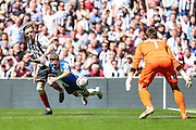 Matt Taylor goes down in the Grimsby penalty area during the Vanarama Conference Final between Bristol Rovers FC and Grimsby Town FC at Wembley Stadium, London, England on 17 May 2015. Photo by Shane Healey.