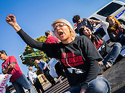 20 MARCH 2012 - PHOENIX, AZ:  Rocio Sanchez chants during a student protest in support of the DREAM Act on 75th Ave in front of Trevor G. Browne High School Tuesday. She was one of six students arrested.  PHOTO BY JACK KURTZ